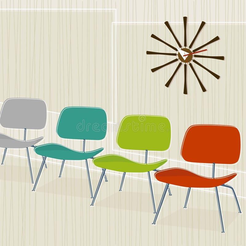 cadeiras Retro-inspiradas ilustração stock