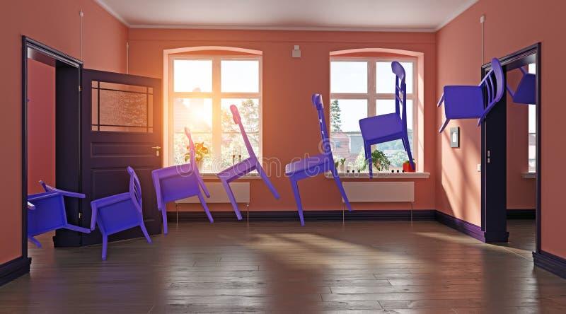 Cadeiras roxas de voo ilustração do vetor