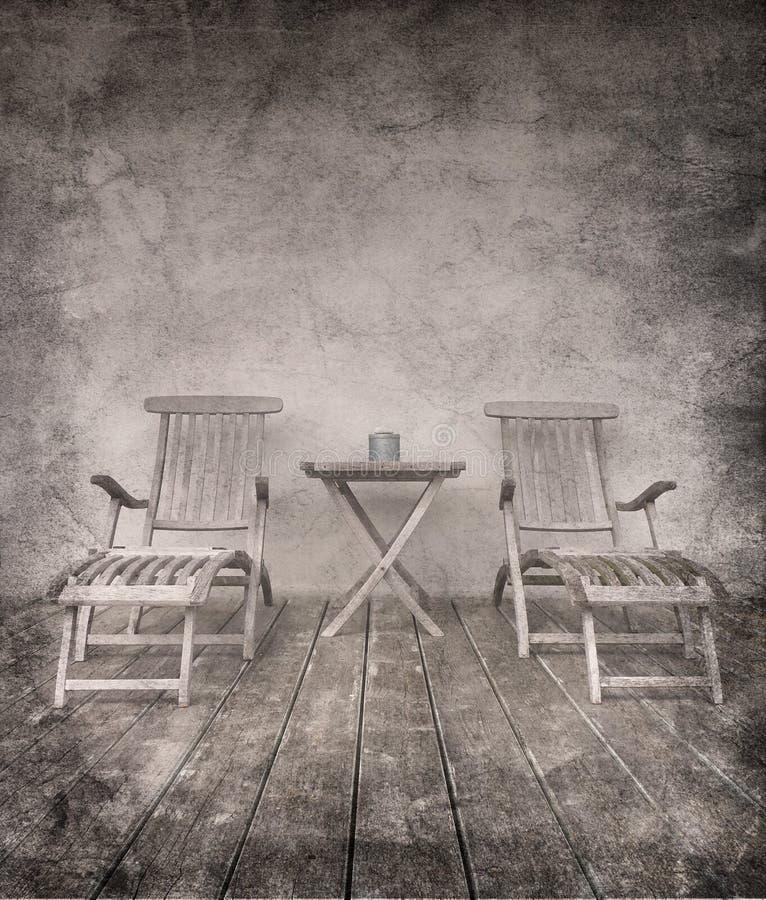 Cadeiras sujas do vintage fotografia de stock