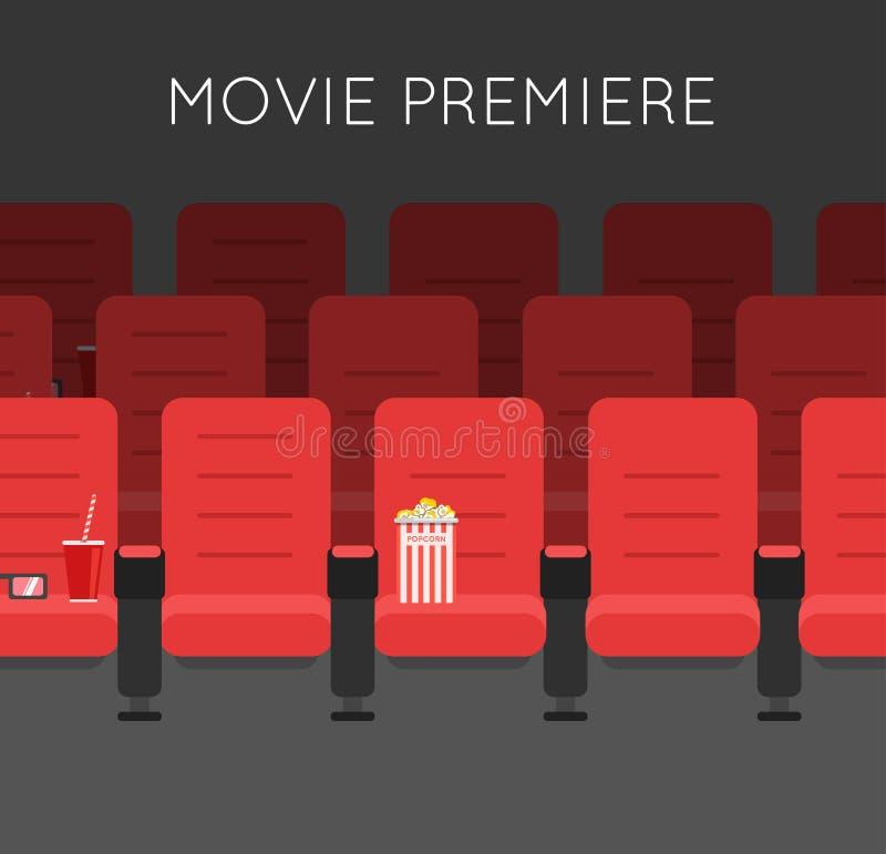 Cadeiras vermelhas do cinema do salão do cinema ilustração do vetor