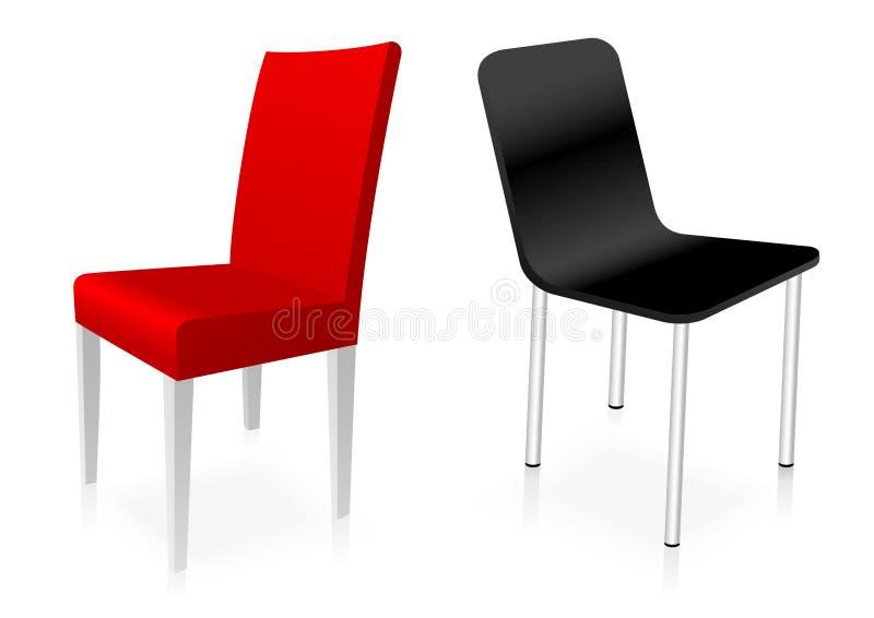 Cadeiras vermelhas e pretas ilustração do vetor