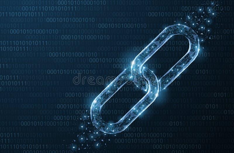 Cadena abstracta aislada del vector Elemento de la cadena de Wireframe en fondo azul Protección del vínculo, tecnología del block stock de ilustración