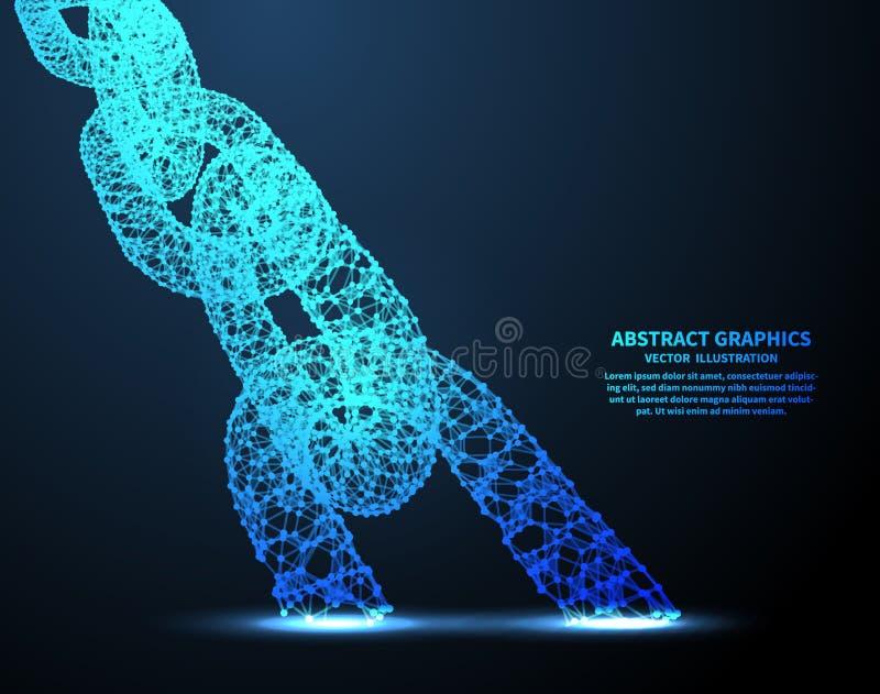 Cadena abstracta, ejemplo del vector Conexiones de red con los puntos y las líneas Fondo abstracto de la tecnología stock de ilustración
