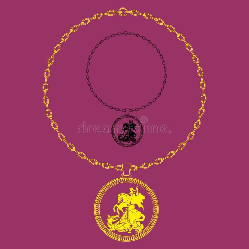 Cadena artística de la silueta de San Jorge stock de ilustración