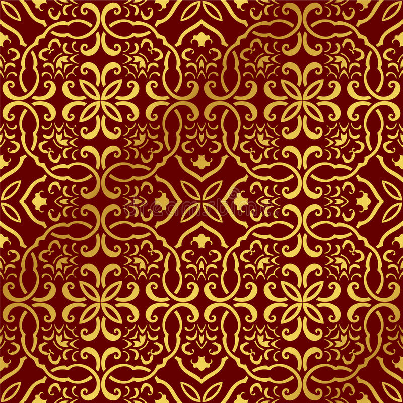 Cadena china de oro inconsútil de la cruz del espiral de la curva del polígono del fondo libre illustration