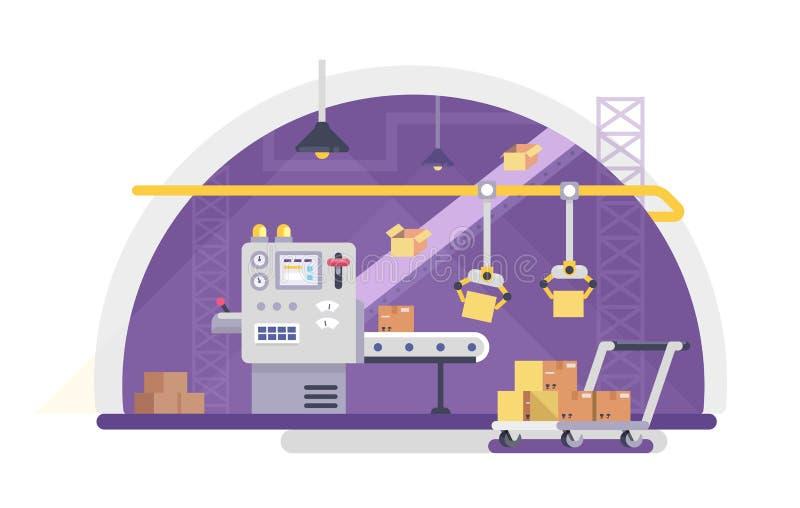 Cadena concepto del embalaje y de producción en estilo plano Ejemplo industrial del vector de la máquina Cajas de cartón en trans libre illustration
