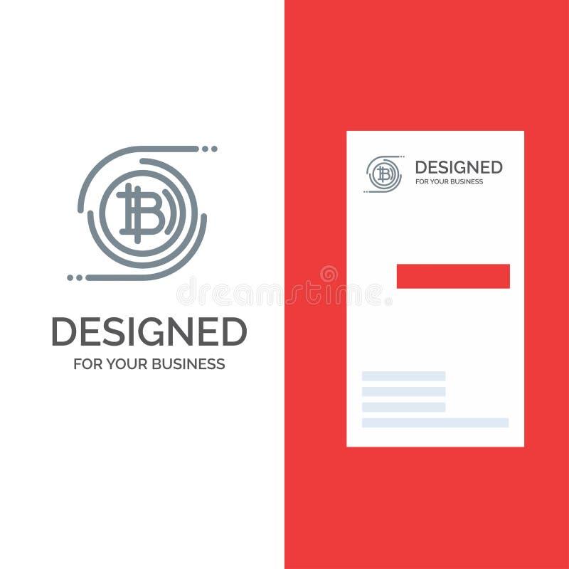 Cadena de Bitcoins, de Bitcoin, de bloque, moneda Crypto, Grey Logo Design descentralizado y plantilla de la tarjeta de visita libre illustration