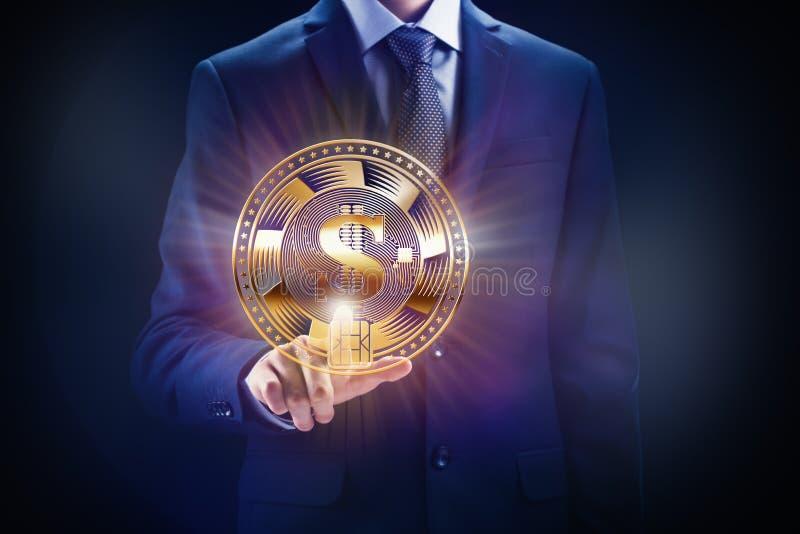 Cadena de bloque Crypto de moneda, diseño de concepto de la explotación minera del negocio Moneda a disposición como pedazo de la fotografía de archivo