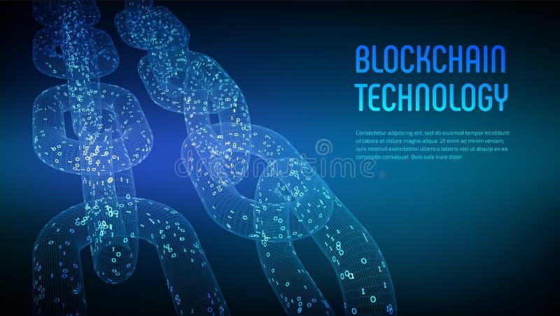 Cadena de bloque Moneda Crypto Concepto de Blockchain cadena del wireframe 3D con código digital Plantilla Editable de Cryptocurr ilustración del vector