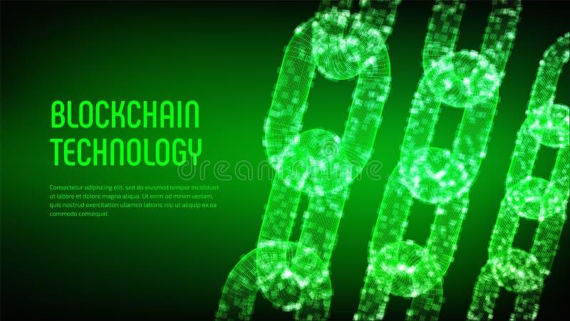 Cadena de bloque Moneda Crypto Concepto de Blockchain cadena del wireframe 3D con los bloques digitales Plantilla Editable de Cry imágenes de archivo libres de regalías