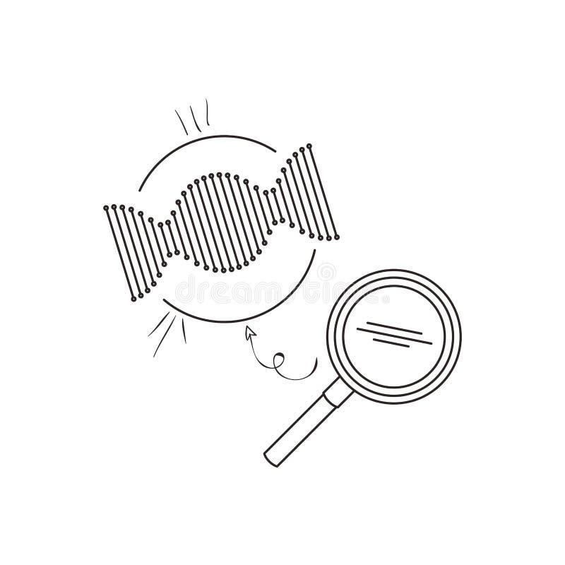 Cadena de la DNA con la lupa ilustración del vector