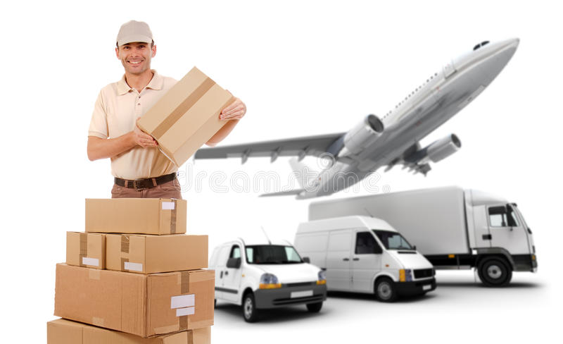 Cadena de la logística del transporte fotografía de archivo libre de regalías