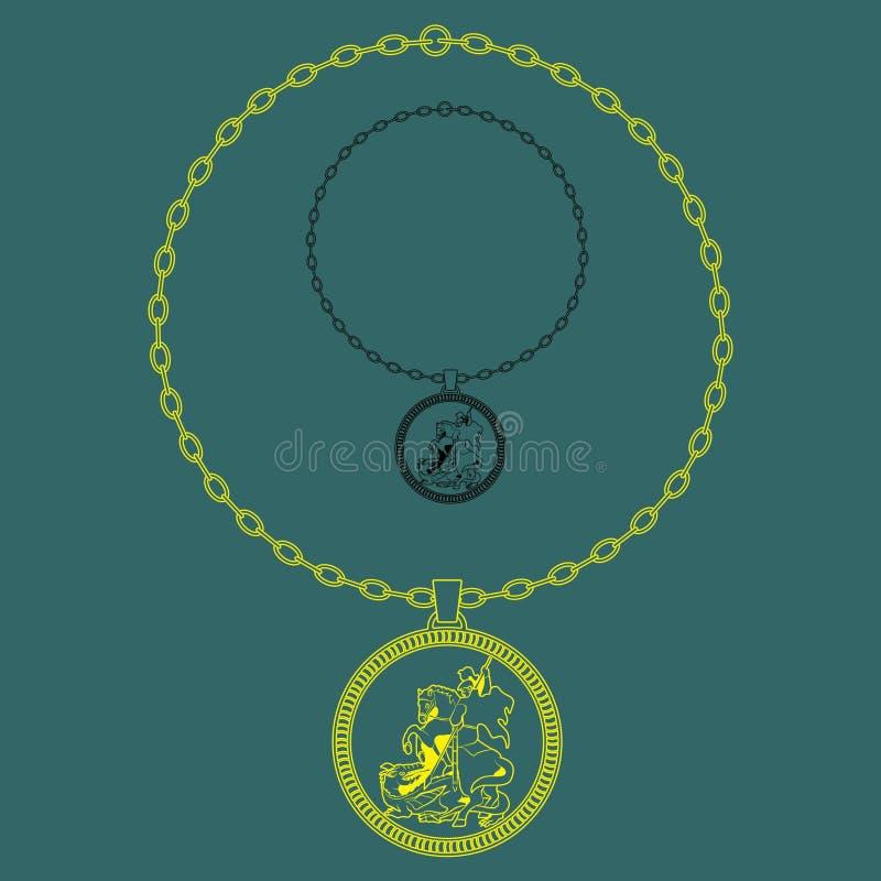 Cadena de la silueta de San Jorge stock de ilustración