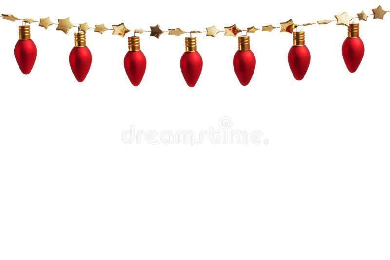 Cadena de luces del ornamento de la Navidad fotos de archivo