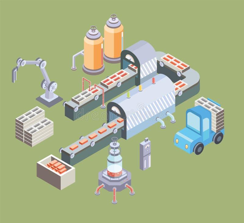 Cadena de producción automatizada Piso de la fábrica con el transportador y las diversas máquinas Ejemplo del vector en la proyec ilustración del vector