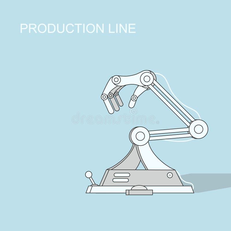 Cadena de producción robótica fabricación y ilustración del vector