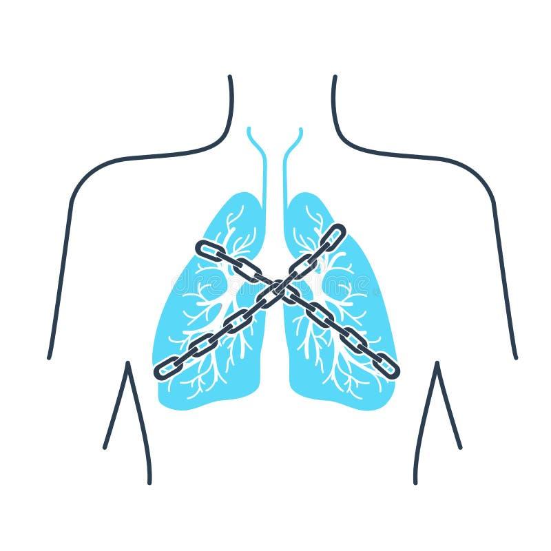 Cadena del asma del icono ilustración del vector