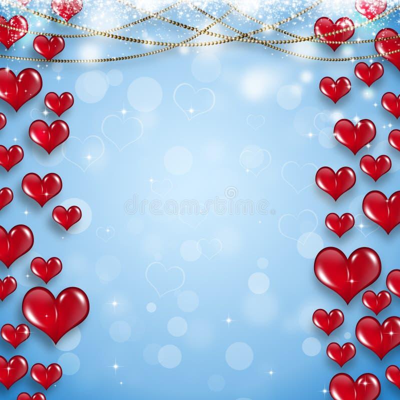 Cadena del oro y corazones rojos ilustración del vector