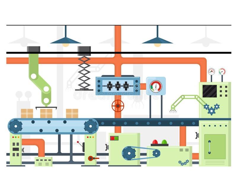 Cadena o correa automática de producción del transportador de la fábrica Vector libre illustration