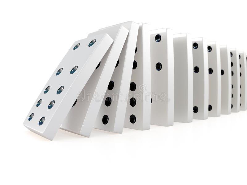 cadena que se derrumba 3d de dominós ilustración del vector