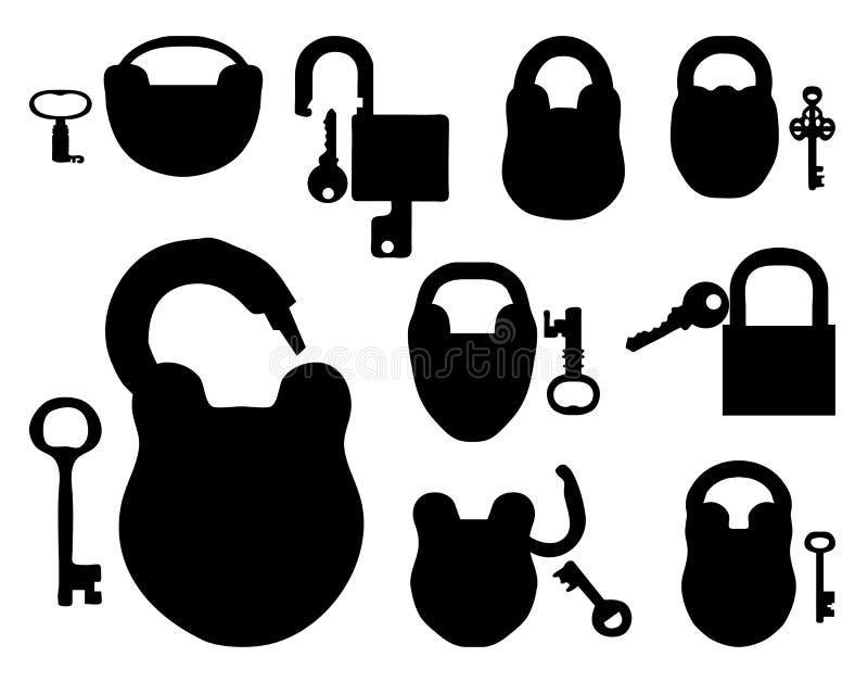 Cadenas avec des clés illustration libre de droits