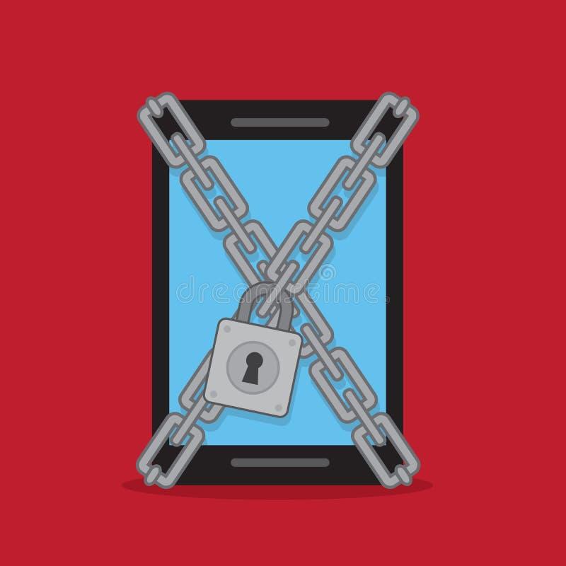 Cadenas de cerradura del teléfono stock de ilustración