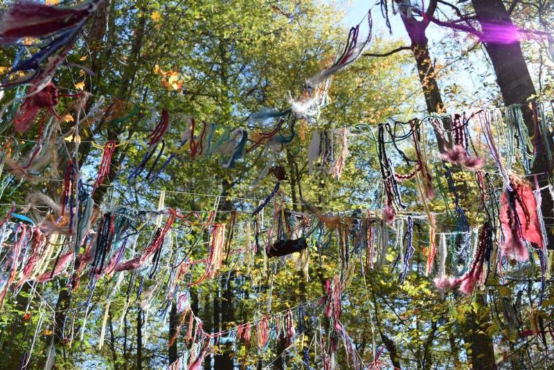 Cadenas de deseos en el bosque fotos de archivo libres de regalías