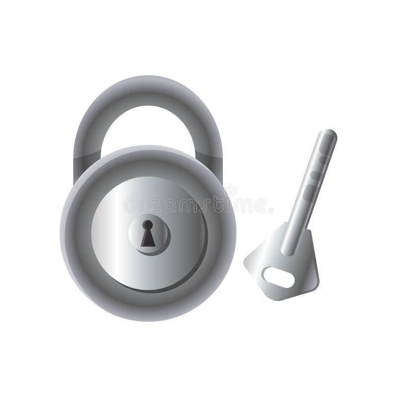 Cadenas en acier en métal rond avec la clé, élément à la maison fixé illustration stock
