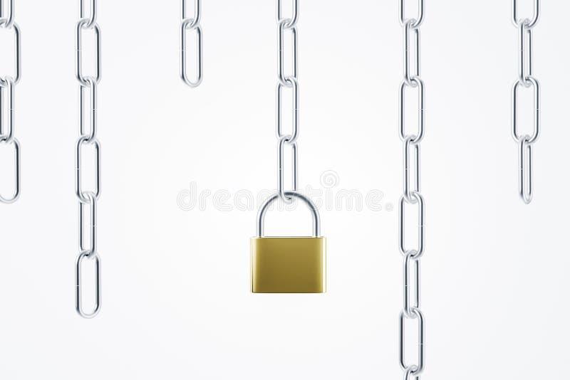 Cadenas fermé sur la chaîne, la sécurité et la sécurité illustration de vecteur