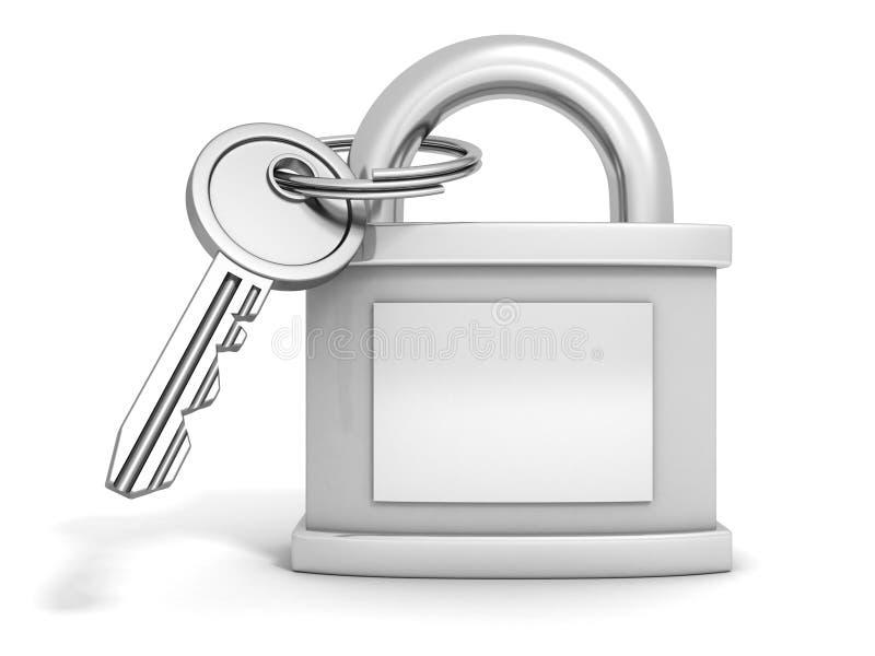 Cadenas métallique fermé avec la clé sur le blanc illustration de vecteur
