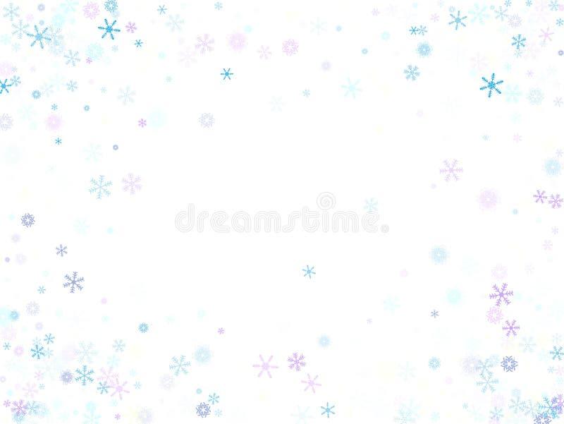 Cadendo coriandoli della neve, confine di vettore del fiocco di neve Inverno festivo, Natale, fondo di vendita del nuovo anno Fre illustrazione vettoriale