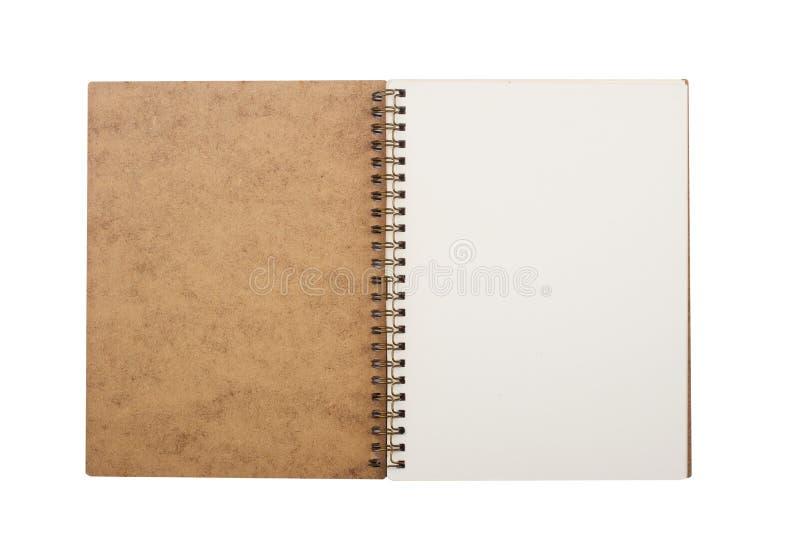 Caderno aberto com espiral do metal fotos de stock