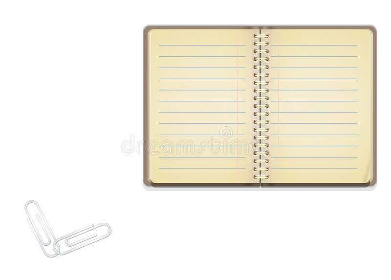 Caderno aberto do vintage com papéis alinhados para escrever ilustração do vetor