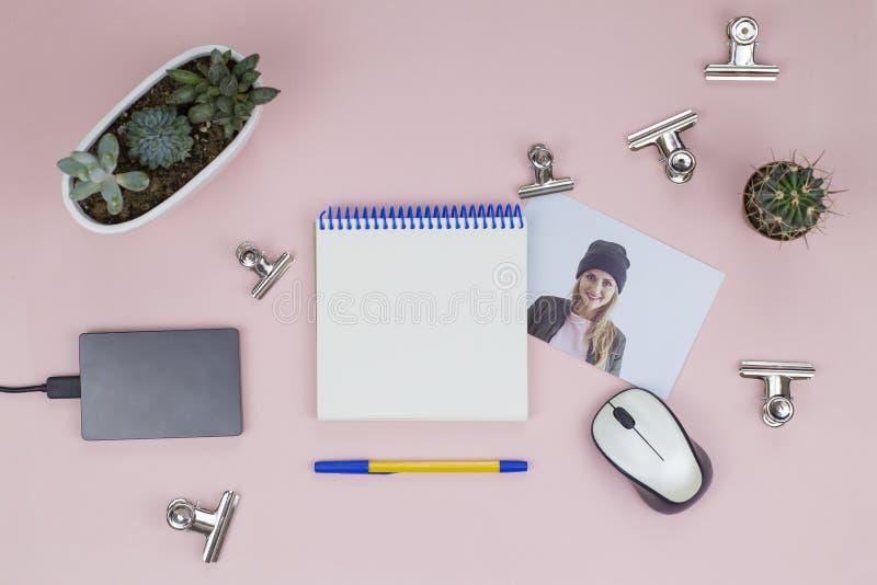 Caderno aberto, pena, rato, plantas carnudas, foto, clipes de papel foto de stock royalty free