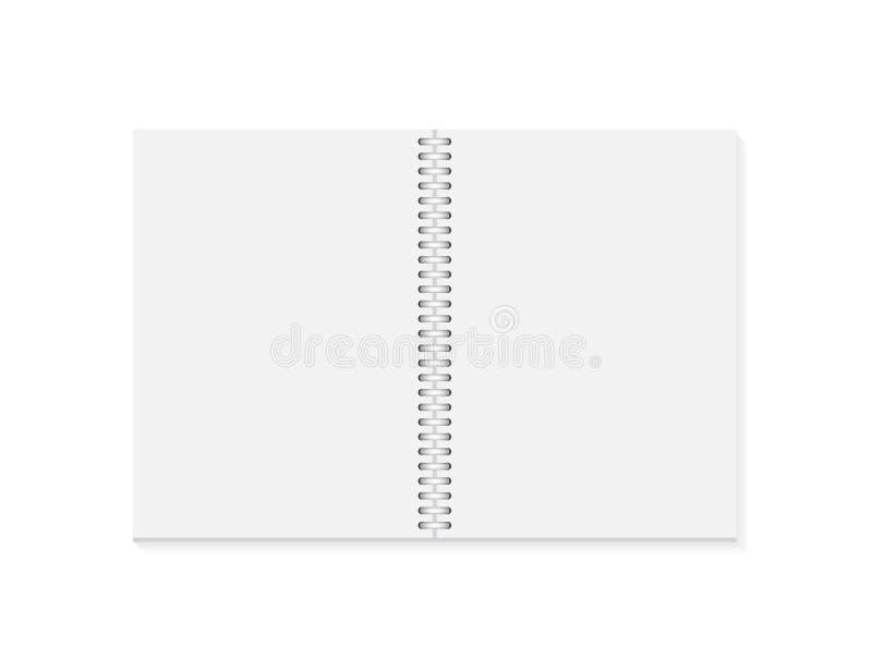 Caderno aberto realístico do vetor Caderno vazio vertical com espiral de prata metálica Molde do organizador ou do diário ilustração royalty free