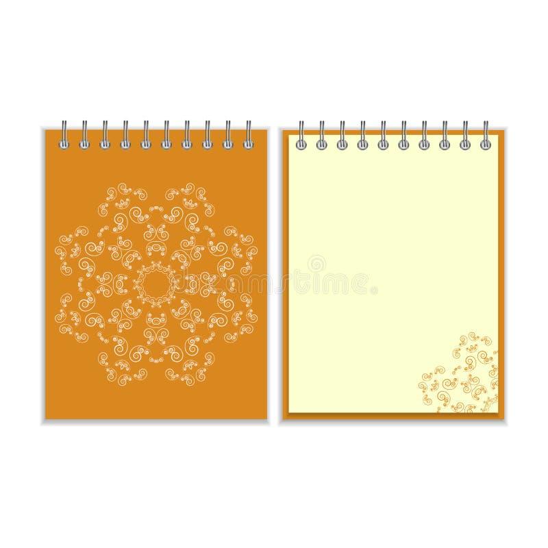 Caderno alaranjado da tampa com a estrela ornamentado redonda ilustração stock