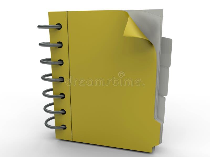 Caderno amarelo do escritório ilustração royalty free