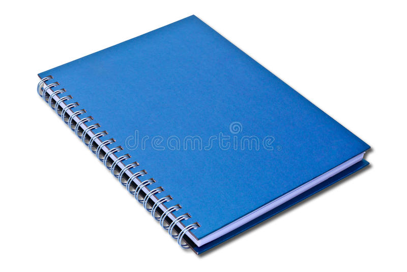 Caderno azul isolado fotos de stock royalty free
