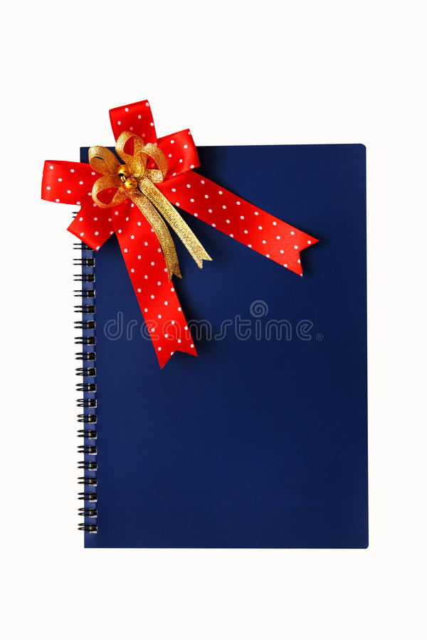 Caderno azul no branco. fotos de stock royalty free