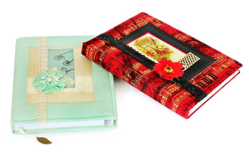 Caderno bonito Caderno em técnicas scrapbooking foto de stock