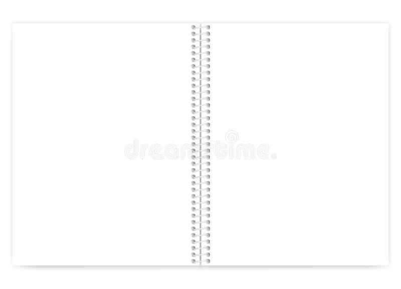 Caderno branco aberto do tamanho da letra do limite do fio da placa com meta claro ilustração do vetor