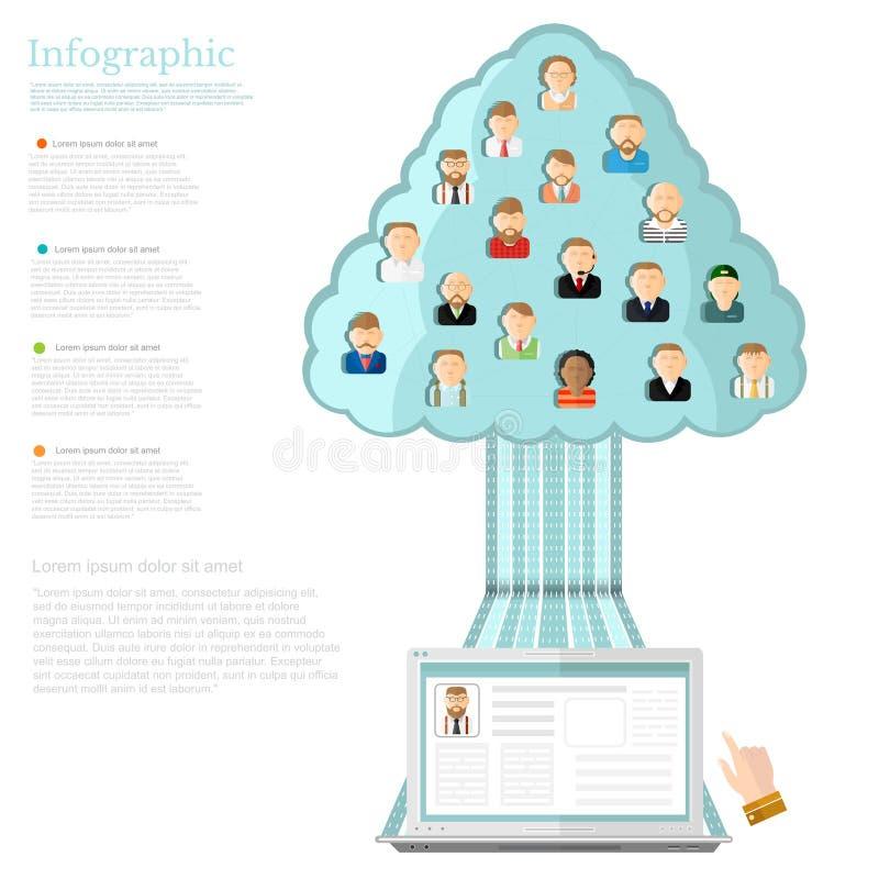 caderno com a árvore de redes sociais com os íons de povos diferentes ilustração stock