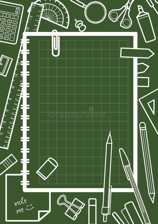 Caderno com espaço para o texto cercado por artigos de papelaria ilustração royalty free