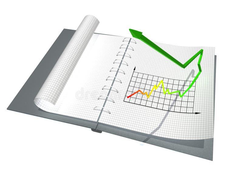 Caderno com gráfico ilustração stock