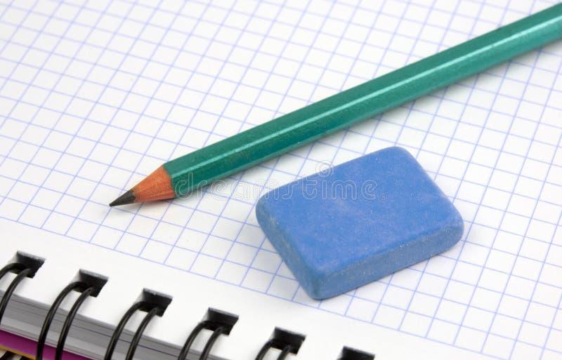 Caderno com lápis fotografia de stock
