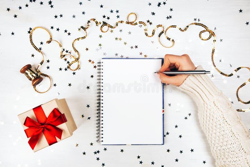 Caderno com lista de objetivos pretendidos imagem de stock royalty free