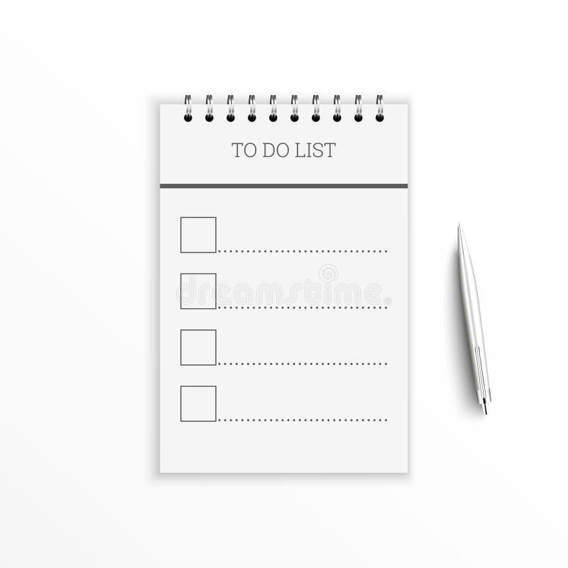 Caderno com para fazer a lista ilustração royalty free