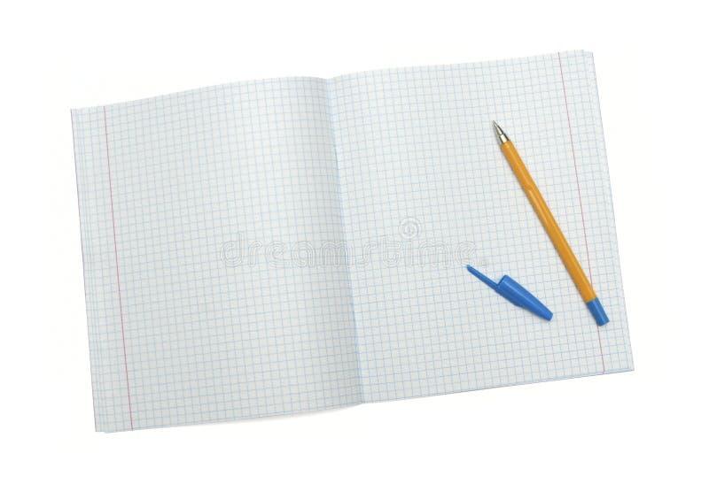 Caderno com pena amarela foto de stock