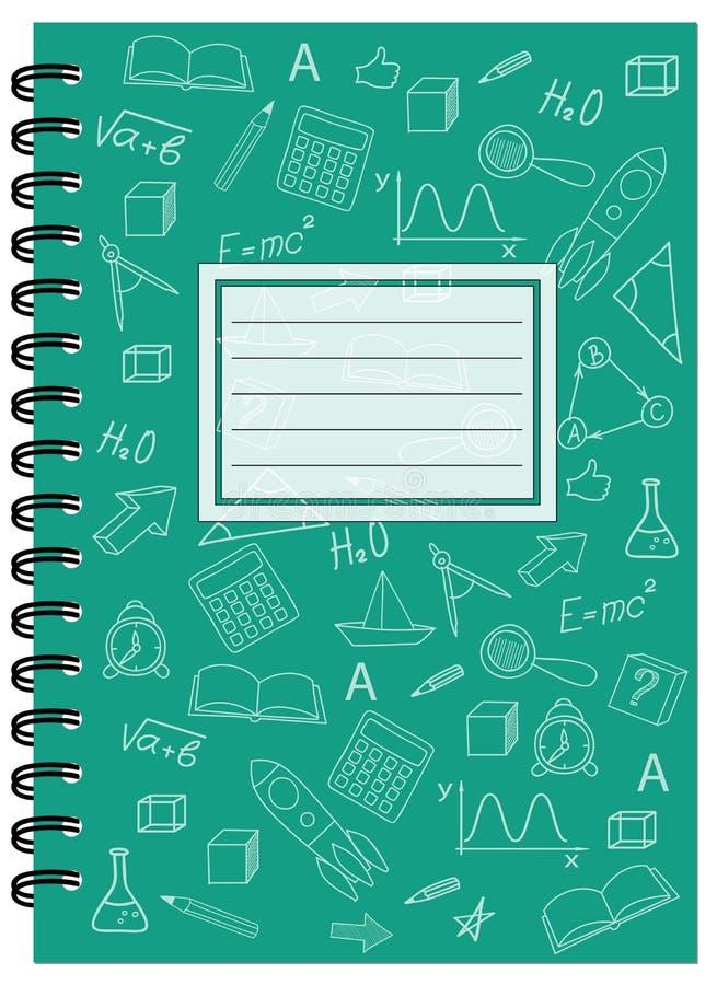 Caderno da escola do projeto da tampa A5 com espiral ilustração do vetor