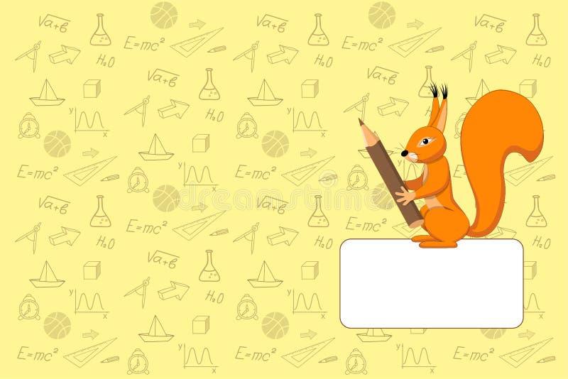 Caderno da escola do projeto da tampa com esquilo ilustração royalty free